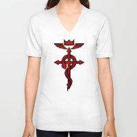 fullmetal V-neck T-shirts featuring Fullmetal Alchemist Flamel by R-evolution GFX