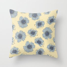 Gray on Cream Cosmos Flowers Throw Pillow