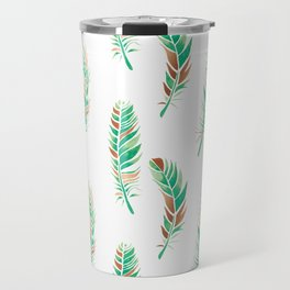 Watercolour Feathers - Greenery and Copper Travel Mug