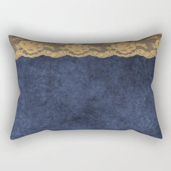 Blue Lace Velvet 02 Rectangular Pillow