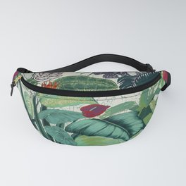 jungle with red flowers and green leaves Fanny Pack