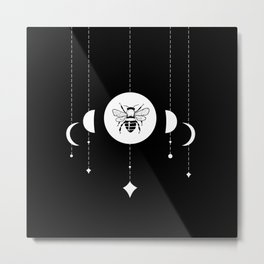 Bee & Moon Phases Metal Print