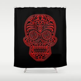 Intricate Red and Black Day of the Dead Sugar Skull Shower Curtain