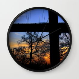 bridge and sunset Wall Clock