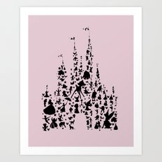 disneyworld castle with characters pink  Art Print