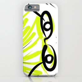 Geeky Girl in Glasses in Lime iPhone Case