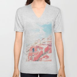 Mamma Mia Greece Pink streets old village photography in HD Unisex V-Neck