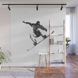 Snowboard Jumping Cartoon Wall Mural