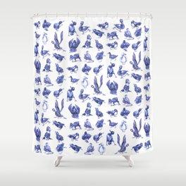 Ducks in Black Latex Shower Curtain