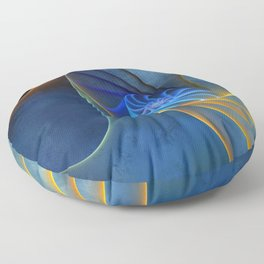 yellow and blue spirals Floor Pillow