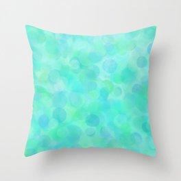 Aqua Lime Beach Glass Dots Throw Pillow