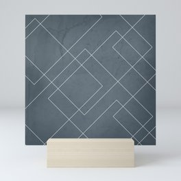 Overlapping Diamond Lines on Peninsula Blue Mini Art Print
