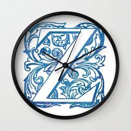 Letter Z Elegant Vintage Floral Letterpress Monogram Wall Clock