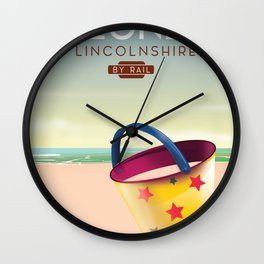 Skegness lincolnshire beach travel poster. Wall Clock