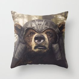 Armored Bear Companion Throw Pillow