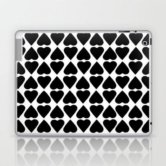 Diamond Hearts Repeat Black Laptop & iPad Skin