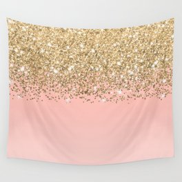 Girly Chic Gold Confetti Pink Gradient Ombre Wall Tapestry