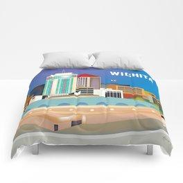 Wichita, Kansas - Skyline Illustration by Loose Petals Comforters