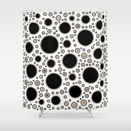 Polka Dot Chaos - White, Black and Gold Shower Curtain