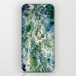 The Stream - blue green white acrylic paint pour iPhone Skin