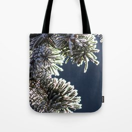 Snow-Covered Pine Branches Tote Bag