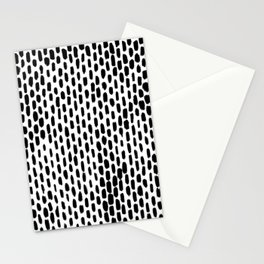 Minimalist Staggered Brush Strokes Black Stationery Cards