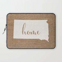 South Dakota is Home - White on Burlap Laptop Sleeve