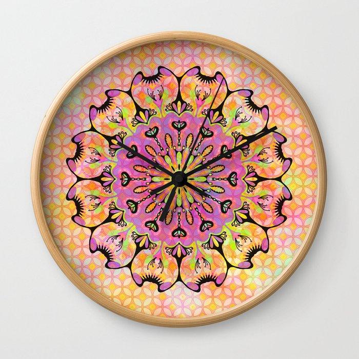 Pastel Rainbow Flower Mandala, Ultra Violet Geometric Boho Kaleidoscope Popart Wall Clock
