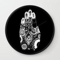 hamsa Wall Clocks featuring Hamsa by TJSGrimm