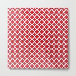 Lattice Red on White Metal Print
