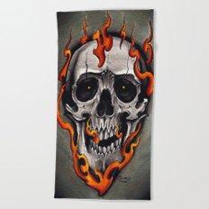 Skull in Flames Beach Towel