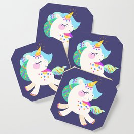 Cute unicorn with colorful mane and tail Coaster