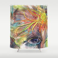 bride Shower Curtains featuring Bride by Andrea Montano