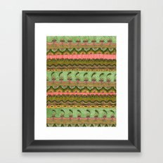 Pink and Green Pattern Framed Art Print