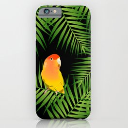 Lovebird Parrots in Green Palm Leaves on Black iPhone Case