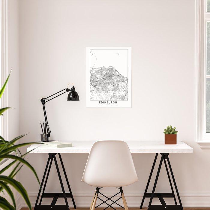 Edinburgh White Map Poster
