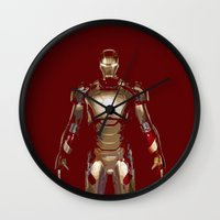 iron man Wall Clocks featuring Iron Man  by George Hatzis