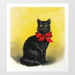 Pretty Black Cat- Vintage Cat Art Print