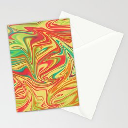 Digital marbling in yellow and orange tones Stationery Cards
