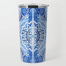 Batik Blue and White Mandala Travel Mug