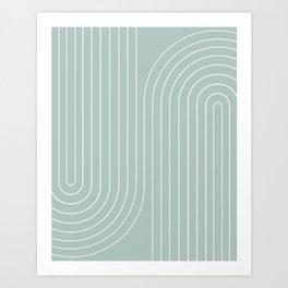Minimal Line Curvature - Sage Art Print