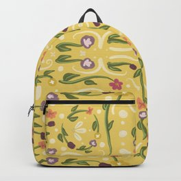Yellow Hand Painted Bohemian Flower Design Backpack