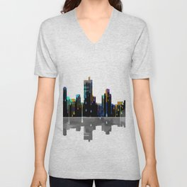 Fort Worth Skyline BW1 Unisex V-Neck