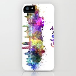 Ghent skyline in watercolor iPhone Case