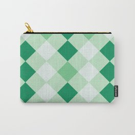 Shamrock Green Diagonal Plaid Pattern Carry-All Pouch
