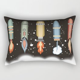 Outer space rockets flaming jet packs clouds Rectangular Pillow