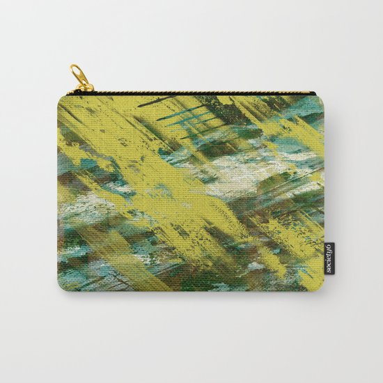 Hidden Meaning - Abstract, oil painting in yellow, green, blue, white and brown Carry-All Pouch