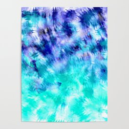 modern boho blue turquoise watercolor mermaid tie dye pattern Poster