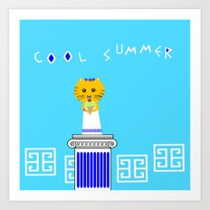 Greek Cat Eating Ice Cream Art Print