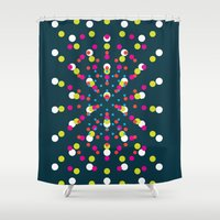 polka dots Shower Curtains featuring Polka Dots by The Blonde Dutch Girl